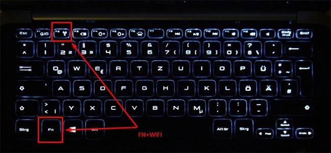Menggunakan tombol menghidupkan wifi